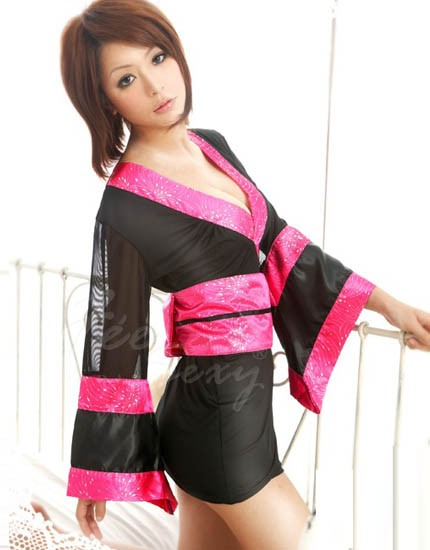 Good looking and fashionable Japanese Doll lingerie black in color with thick pink detailing