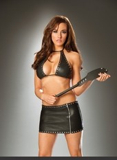 Leather Cross Cut Out Skirt Sexy Lingerie for Women, Costume, Bra, Panties, sleepwear, corsets, bodysuits, teddies, robes and more. Leather skirt with nail heads, side zipper and mesh cross cut out detail.