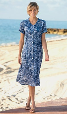 Fern Print Dress  Batik printed by hand in shades of blue and white, this button-front summer dress has short sleeves, pin tucks for shape, and box-pleat trim along the open V-neckline and sleeves. Unlined for warm-weather comfort. Button front summer dre