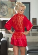 Laced Back Robe, Gown with G-String - Red