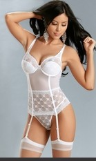 Mesh and embroidered lace with underwire cups and adjustable straps. Includes hose and t-back thong.