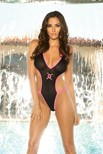 Deep V halter style teddy with thong back and skull print.