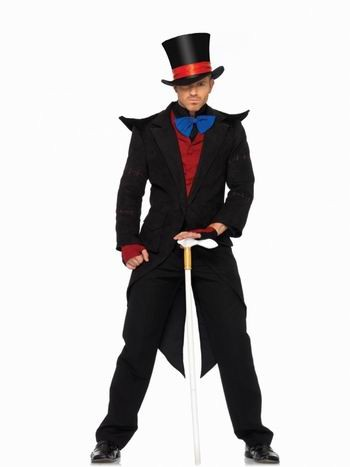 Majestic black suit magician attire costume outfit