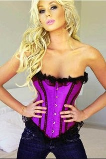 Purple satin corset with black lace trims corset, fully boned with a lace up back and comes with a matching G-string.