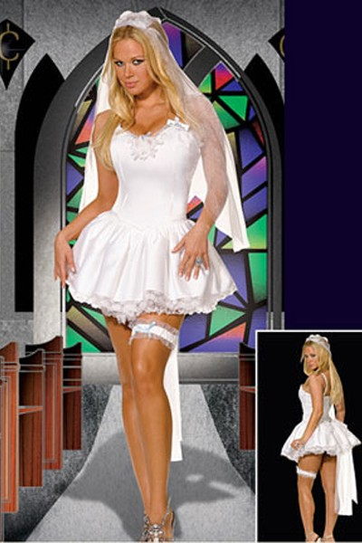 Romantic white bridal costume dress in a lavishing white satin silhouette