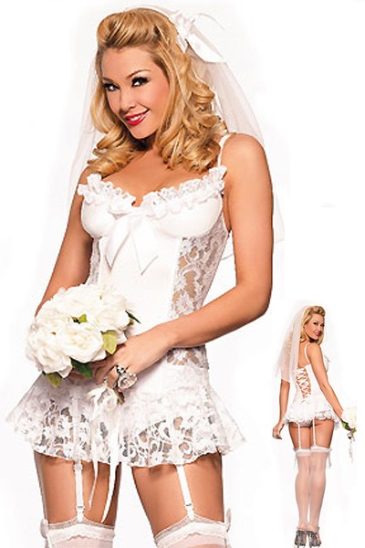 Sexy gorgeous pure white floral lace embroidered bride costume dress.