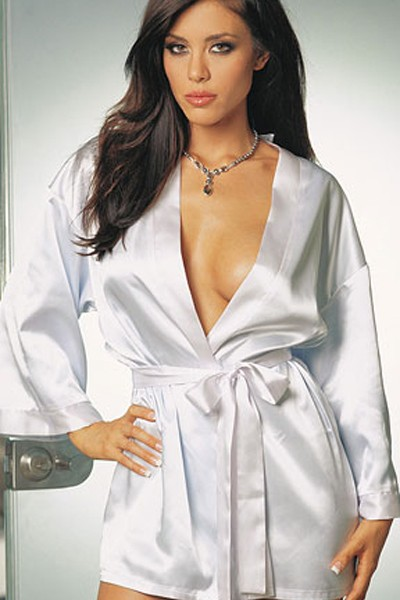 Sexy sultry in heavenly white satin silhouette plus size sleepwear robe