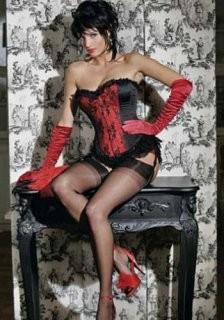 Gorgeous Velvet Red Charming stripless corset on the middle top with black garter sensation on the side