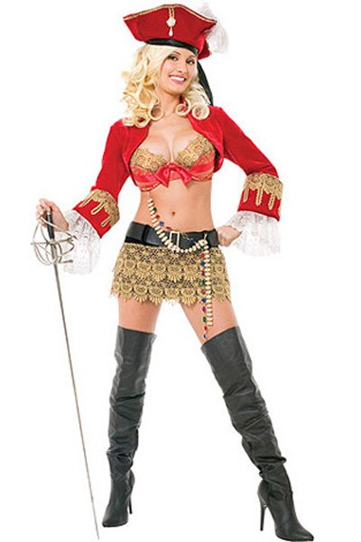 Sexy Captivating Red Hot Pirate Costume dress with all five piece set and a beautiful hat