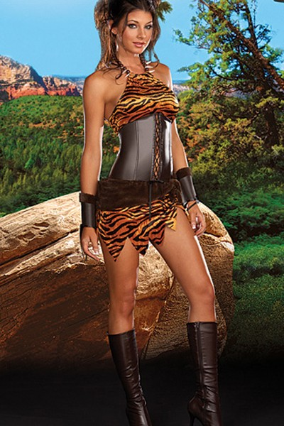 Sexy charming plus size cave woman costume dress