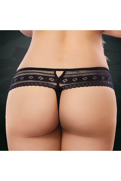 Stunningly flirty allover lace black embroidered gartered floral fabric hipster panty