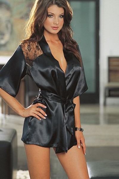 Ravishing sexy short black satin silhouette plus size robe sleepwear