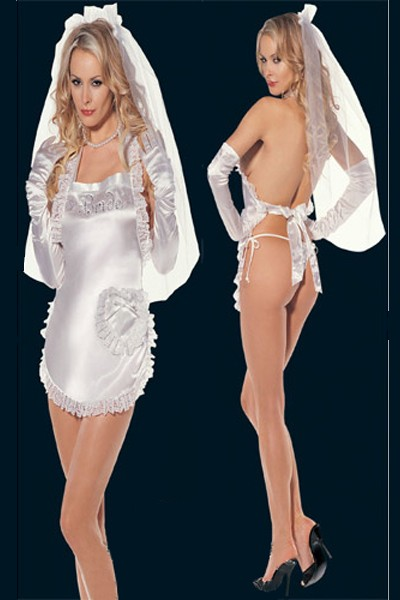 Very sexy flirty white satin silhouette op-enable night wedding costume