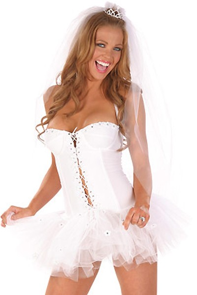 Dreamy white sating silhouette bride costume dress in a fluffy lace skirt with topknot