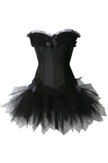 Elegant Black sating ling corset dress with ribbons in front and sides