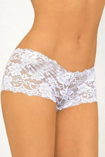Stunningly flirty allover lace in pure white in allover embroidered gartered floral fabric hipster panty