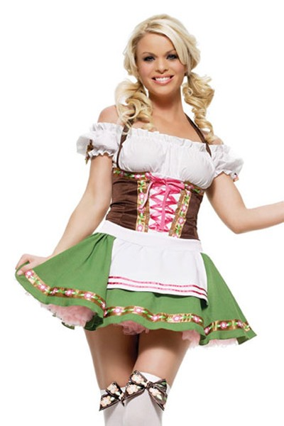 Very Sweet and Sexy Plus Size Maid costume in a white, brown and green color cress