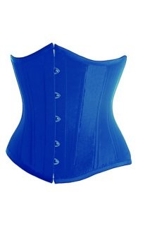 Blue underbust corset with with c-string and front busk closure, lace-up back and matching thong.