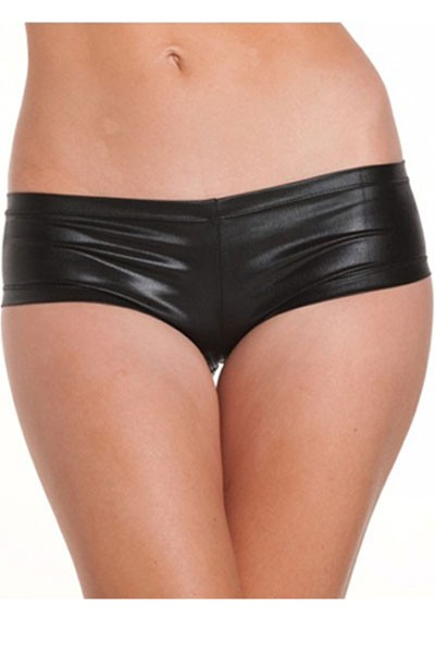 Sexy Black Silky Smooth Satin Silhouette Panty in low-raise stretch design style.