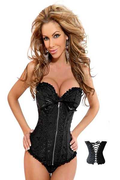 Sexy elegant Embroidered Black Burlesque Corset in a beautiful floral detailed design and in an hourglass shaped corset top with a ribbon and a zipper front closure and with lace up back closure.
