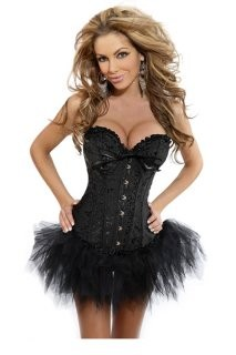 Elegant Black Strapless Jacquard Corset dress in a charming floral detailed design top with sleek satin bow with feathery flare bottom in a hook and eye front closure and in a stunning sexy hourglass shape corset.