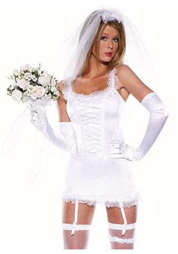 Glamorous sexy classical white satin silhouette bride costume