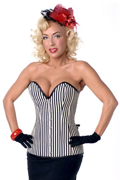 Stunning Black and White Gorgeous stripes slimming corset in a heart shaped design with a hook and eye front closure and with smooth satin edges.