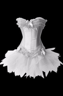 Heavenly Strapless Burlesque Snow White Jacquard Corset Dress