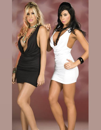 Elegant look mini dress lingerie comes with open V shape front and back lesss design.