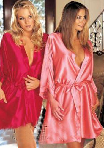 Charmeuse Sleepwear Robe with satin collar. This item is one size fits all.