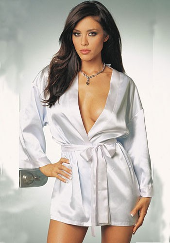 Sexy smooth heavenly white Charmeuse sleepwear gown and robe in beautiful satin collar with a flattering shawl collar and a sash tie closure