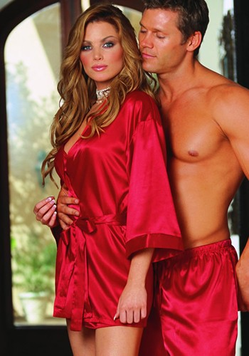 Astonishing Sexy Red Silk Silhouette Charmeuse Sleepwear Robe in a sash tie closure in gorgeous looking kimono cuffs and short wrap in silhouette sexy robe.