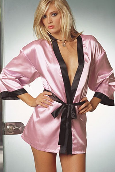 Very Sumptuous Pink Sexy Silk Silhouette Charmeuse Sleepwear Robe with a black dazzling trimmed edge in a sash tie closure in gorgeous looking kimono cuffs and short wrap in silhouette sexy robe.