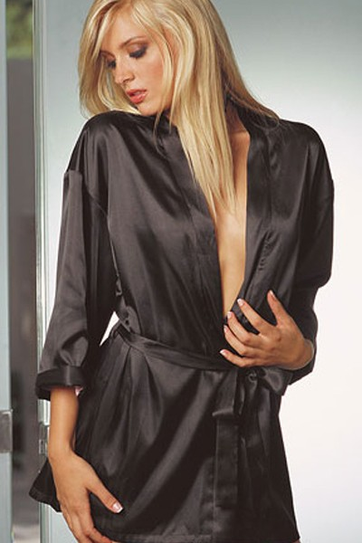 Very Glamorous Black Sexy Silk Silhouette  Charmeuse Sleepwear Robe in a sash tie closure in gorgeous looking kimono cuffs and short wrap in silhouette sexy robe.