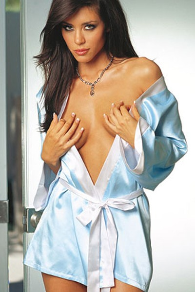 Flirtatious Sexy Heavenly Light Blue Silk Silhouette Satin Charmeuse Sleepwear Robe with a touch of white dazzling trimmed edge in a sash tie closure in gorgeous looking kimono cuffs and short wrap in silhouette sexy robe.