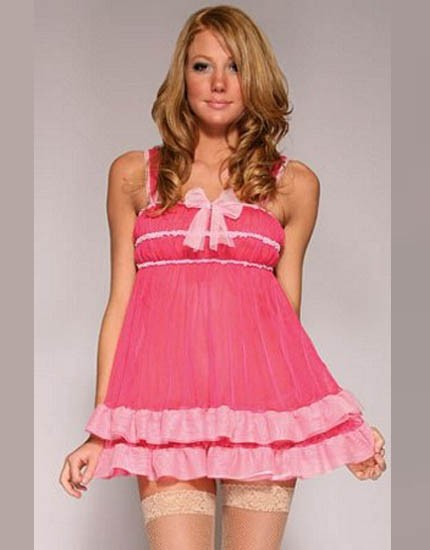 Lovely in pink sexy mini dress with ribbon infront and legging with lace.
