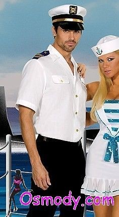 Vintage white captain sailor costume outfit for men