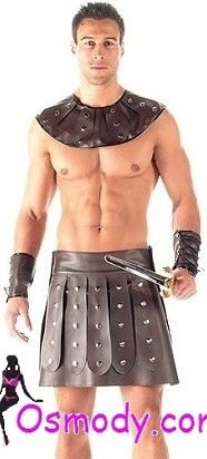 Pure all leather gladiator design style mens costume