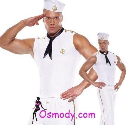 Awesome white sailor mens outfit design style