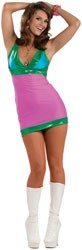 Our Go Go Dancer Costume features a 60s style go go dress with fabulous colors.
