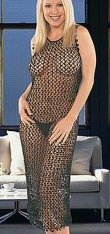 Crochet Beaded Dress w/Sequins. Black as shown. One size fits most.