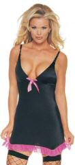 Lycra garter dress. satin bow. mesh trim. v neck. 88% nylon and 12% spandex.