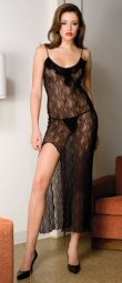 2 Piece Ruffle Trim Lace Gown with Side Slit.  Ruffle trim - sheer lace - side leg slit - matching thong - one size fits most. 100% nylon.