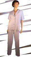 Missy Short Sleeve Button Front 2 Piece Pants Suits. Item has hangtag. Package includes sizes M and L and XL and XXL. 100% Georgette polyester. Pant in size Medium has 29inch