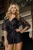 Floral lace robe with belt and matching charmeuse bias cut babydoll with criss cross adjustable straps low back and side slit hem. Comes on matching padded hangar - cello bagged