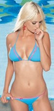 2 PC Bikini Swim Suit Aqua Blue with Neon Pink Trim. Packaged for display.