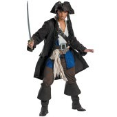 Pirates of the Caribbean - Captain Jack Sparrow Prestige Adult Costume Get the look you want with our Pirates of the Caribbean - Captain Jack Sparrow Prestige Adult Costume! Includes a brown jacket, pirate shirt, blue vest, across the chest belt with buck