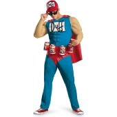The Simpsons - Duffman Classic Muscle Adult Costume Become the cool and charismatic Duff Beer mascot in The Simpsons - Duffman Classic Muscle Adult Costume which includes a jumpsuit featuring a chiseled muscle chest, bright red cape, belt with attached be