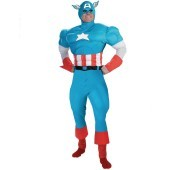 Captain America Deluxe Muscle Adult Costume Show your patriotism by wearing the officially licensed Captain America Deluxe Muscle Adult Costume! Based on the Marvel comic book character, this disguise includes a bodysuit with muscle torso and legs. A char