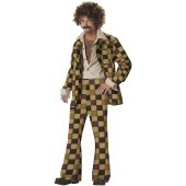 Disco Sleazeball Adult Costume Every Saturday night, this Disco Dude is dancing his way to all the chicks, even if they don't like it! This Disco Sleazeball Adult Costume includes a white button-down sleeveless shirt, checkered jacket with attached white